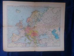 1910-1920 - Európa politikai és közlekedési térképe - Magyar Földrajzi Intézet - 46 x 58 cm.- térkép
