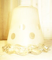 Retro, fodros, homokfúvott üveg mennyezeti lámpabúra