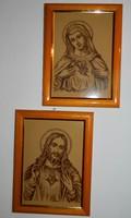Gubán György festőművész tűzzománc kép pár: Jézus  & Mária