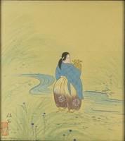 0Q286 Jelzett Japán selyemkép nő ábrázolással