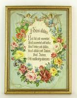 0Q141 Régi keretezett angyal díszes házi áldás