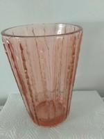 Retro vastag üveg váza- rózsaszín