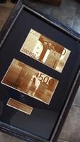 500 EURO és 200 EURO 24 kt UNC ARANY BANKJEGY LUXUS SZETT, EXKLUZÍV AJÁNDÉK, RITKA SZÉP KOLLEKCIÓ