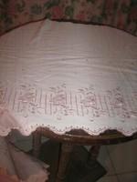 Csodaszép antik kézzel hímzett szőttes függöny-terítő garnitúra