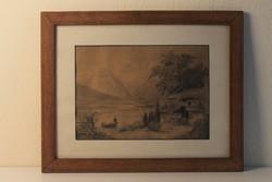 19. századi romantikus ceruzarajz, grafika,festmény