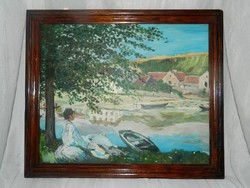 LEÁRAZTAM ! Nő a vízparton - antik olaj / vászon festmény fakeretben