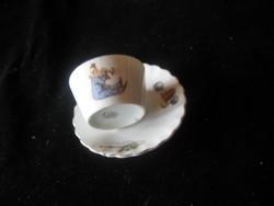 Victoria   antik  mokkás  , cseh mini porcelán
