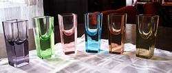 Antik ART DECO mindegyik más színű üveg pohár,stampedli( röviditalos,likőrös kínáló készlet)