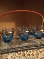 Kèk szînű  röviditalos pohár kèszlet, tálcával , fèm tartóval