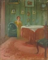 0Q329 Magyar festő : Sárga ruhás nő