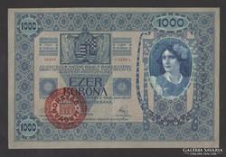 1000 korona 1902.  Magyarország felülbélyegzés!!  aUNC!!  GYÖNYÖRŰ!!