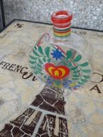 Szép kézzel festett üveg kulacs, Kézzel festett üvegkulacs, Kézzel festett dísz üveg