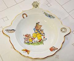 Porcelán melegen tartó gyerektál