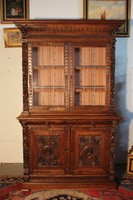 Gyönyörű antik, dúsan faragott reneszánsz vitrin,tálalószekrény!