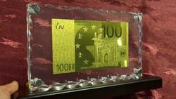 EXKLUZÍV 100 EURO AJÁNDÉK, RITKA ARANY BANKJEGY, UNC BANKJEGYVERET, LUXUS  ASZTAL VITRIN DÍSZ