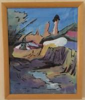 LITTECZKY ENDRE (1880 -1953): NAGYBÁNYA KVALITÁSOS NAGYON SZÉP OLAJKÉP AUKCIÓN 29,5 cm x 35,5 cm