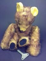 Antik óraműves bukfencező maci medve - kulcsával