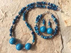 Dekoratív Lazuli splitter szett: gyöngysor, karkötő és fülbevaló