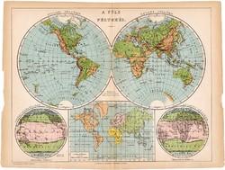Világtérkép, a Föld féltekéi térkép 1892, eredeti, antik, régi, Athenaeum, Brockhaus, magyar nyelvű
