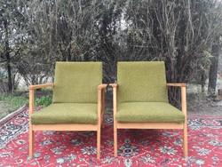 Retro karfás zöld fotel pár