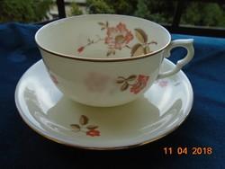 AUGARTEN festményszerű virággal belsejében ivory teás csésze alátéttel-5x10 cm
