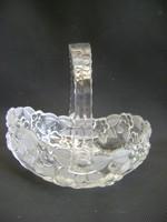 Üveg kosár asztalközép kínáló  álomszép egyedi néhol savmart részekkel hibátlan újszerű