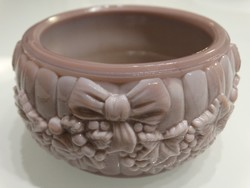 Kalcedon üveg pudertartó, lilás rózsaszínű, Schlevogt dizájn