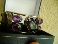 Luxus női ezüst karperec hatalmas drágakövekkel füst karc és ametiszt