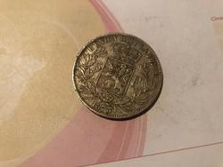 1873 ezüst belga 5 frank 25 gramm 0,900