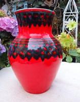 Tűzpiros retro kerámia váza 20 cm