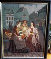 Értékes régi gobelin különlegesen szép finom kidolgozás (goblein)