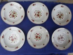 6 db. Zsolnay rózsa mintás mély tányér