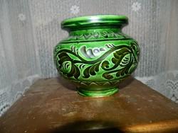 Józsa János Korond : korondi kerámia zöld - fekete öblös  cserép váza