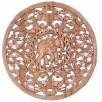 Elefánt, lakkozott kör teakfa faragás falikép, falidísz