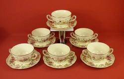 Zsolnay leveses csésze+ tányérja 6 db.Pillangó mintás