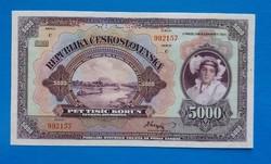 Csehszlovákia 5000 Korona 1920 Unc SPECIMEN.