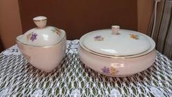 2db régi Hollóházi virágos porcelán bonbonier egyben
