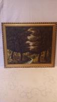 Arany jelzéssel olaj-vászon festmény , erdőbelső