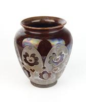 0Q001 Mezőtúri Badár Balázs kerámia váza 15.5 cm