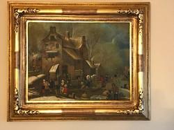 Biedermeier olaj vászon festmény hozzáillő keretével restaurált állapotban. Extra !!!