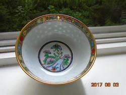 Aranymázra festett virág-gyümölcs-pillangó mintával kínai tál porcelán kanállal