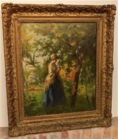 Nagy Vilmos (1874-1963) Hölgy virággal c. olajfestménye 90x77cm eredeti GARANCIÁVAL !!!