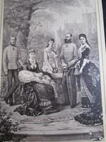 Ferenc József ERZSÉBET KIRÁLYNÉ SZISZI KORONA HERCEG RUDOLF + család eredeti KÉP FÉNYKÉP 1883