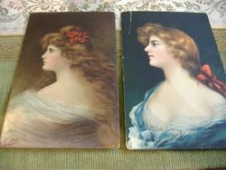 Angelo Asti: Lady,/Modell szalaggal, 1907., Két képeslap egyben.