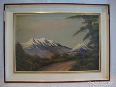 Jelzett festmény havas táj