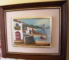 43 x 37 cm a.teljes méret Igazi mediterrán hangulatú festmény