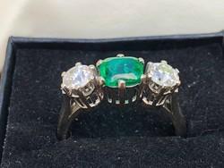 Antik fehérarany gyűrű 1,1ct gyémánt brill és 1,2ct smaragd