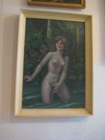 Painting, signed, oil on wood fiber, bathing woman in the background with two satires 44 x 63 cm + frame