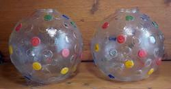 Retro színes gömb üveg lámpa bura párban