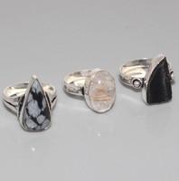 925-ös Ezüst gyűrű Valódi féldrágakövekkel